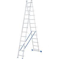 Лестница, 2 x 13 ступеней, алюминиевая, двухсекционная, СИБРТЕХ Россия