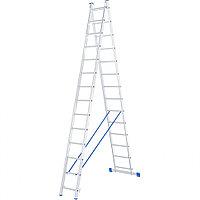 Лестница, 2 x 14 ступеней, алюминиевая, двухсекционная, СИБРТЕХ Россия