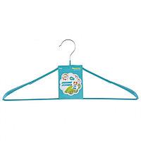 Вешалка металлическая для верхней одежды с прорезиненным противоскользящим покрытием 45 см, бирюзовая, ELFE