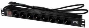 Распределитель питания PDU на 8 розеток (DIN 49940 IEC320 C13 c LED выключателем, алюм. профиль, 1U шнур 2м вилка) 19
