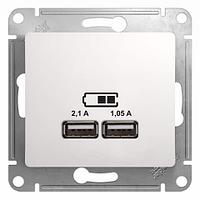 """USB розетка - 2х5В 1050мА скрытой установки без рамки """"GLOSSA"""" GSL133"""