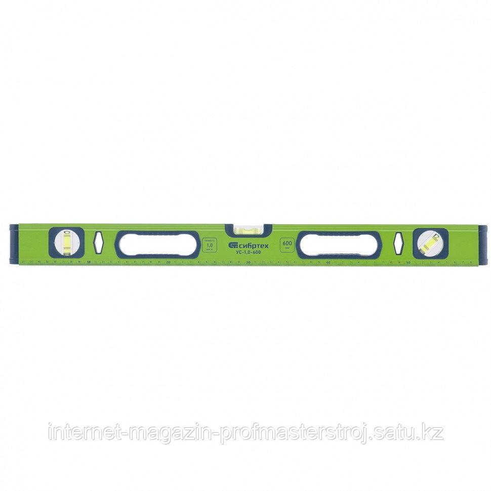Уровень алюминиевый УС-1,0-1200, фрезерованный, 3 глазка, рукоятки, 1200 мм, СИБРТЕХ