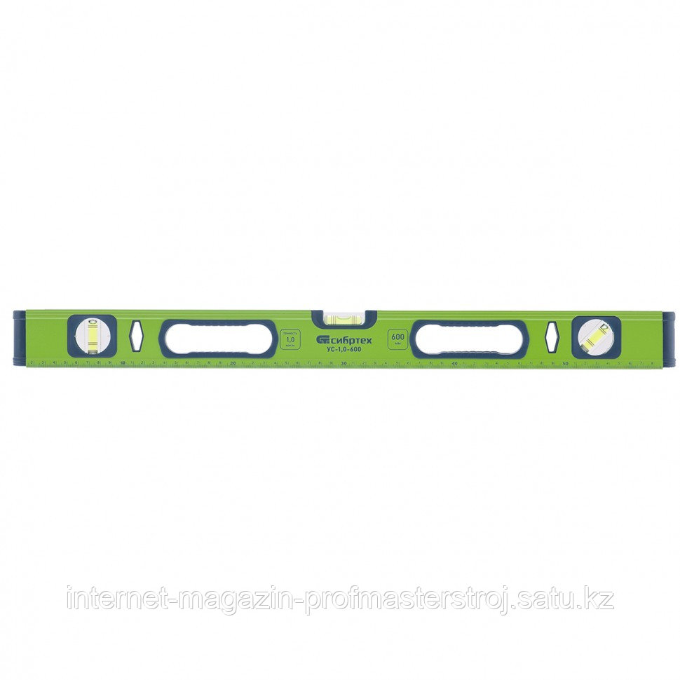 Уровень алюминиевый УС-1,0-1500, фрезерованный, 3 глазка, рукоятки, 1500 мм, СИБРТЕХ