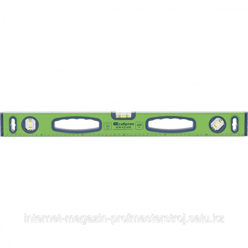 Уровень алюминиевый УСМ-0,5-1000, фрезерованный, 3 глазка, магнитный, рукоятки, 1000 мм, СИБРТЕХ