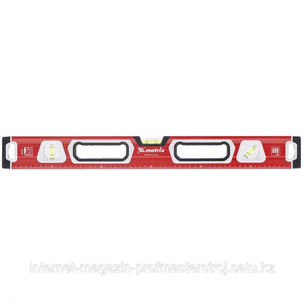 Уровень алюминиевый, магнит., фрезерованный, 3 глазка (1 зеркал.), 2 компонентные рукоятки, 1500 мм, MATRIX