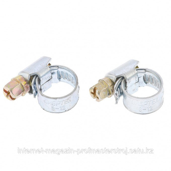 Хомуты металлические стандартное болтовое крепление 10-16 мм, 2 шт., ширина 9 мм, СИБРТЕХ