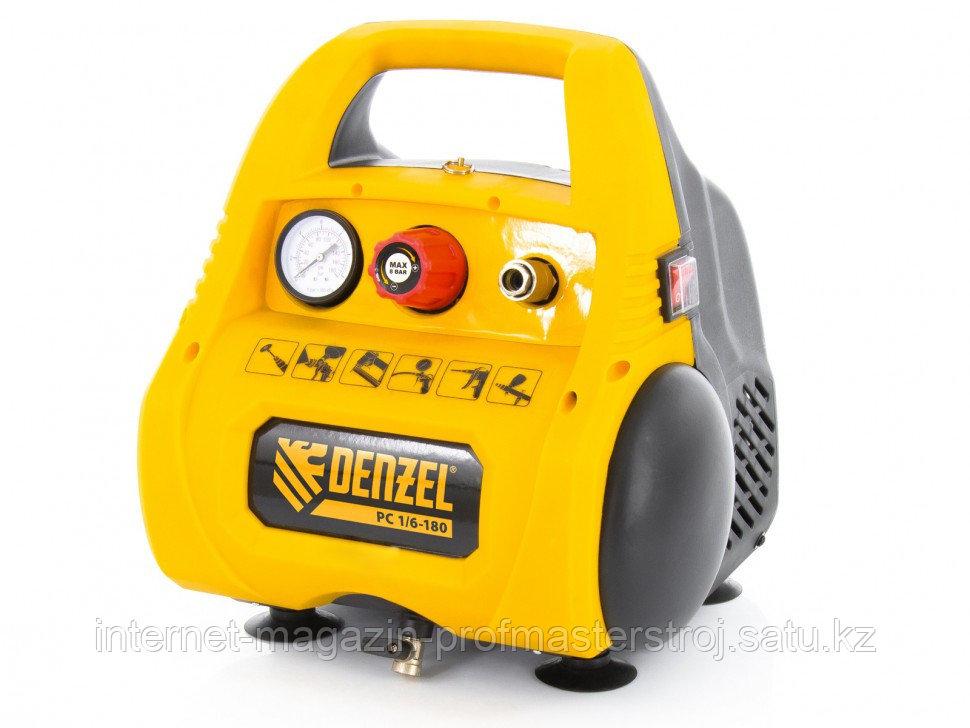 Компрессор воздушный безмасляный РС 1/6-180, 1,1 кВт, 180 л/мин, 6 л, DENZEL