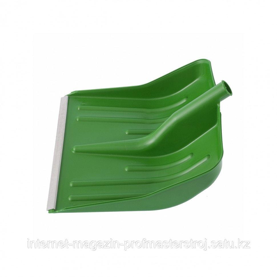 Лопата снеговая зеленая, 400 x 420 мм, без черенка, пластмассовая, алюминиевая окантовка, СИБРТЕХ Россия