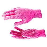 "Перчатки нейлон, ПВХ Точка, 13 класс, цвет ""розовый фуксия"", L, РОССИЯ"