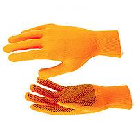 Перчатки нейлон, ПВХ Точка, 13 класс, оранжевые, XL, РОССИЯ