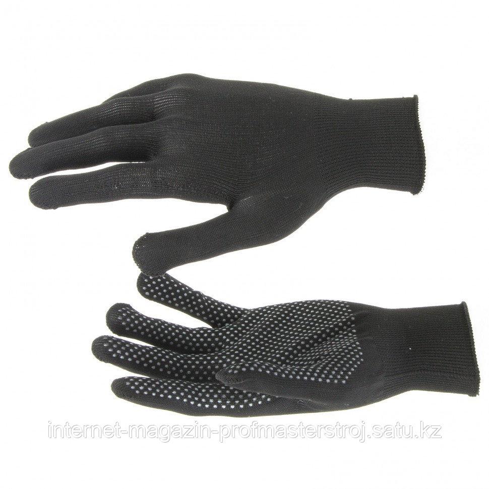 Перчатки нейлон, ПВХ Точка, 13 класс, черные, XL, РОССИЯ