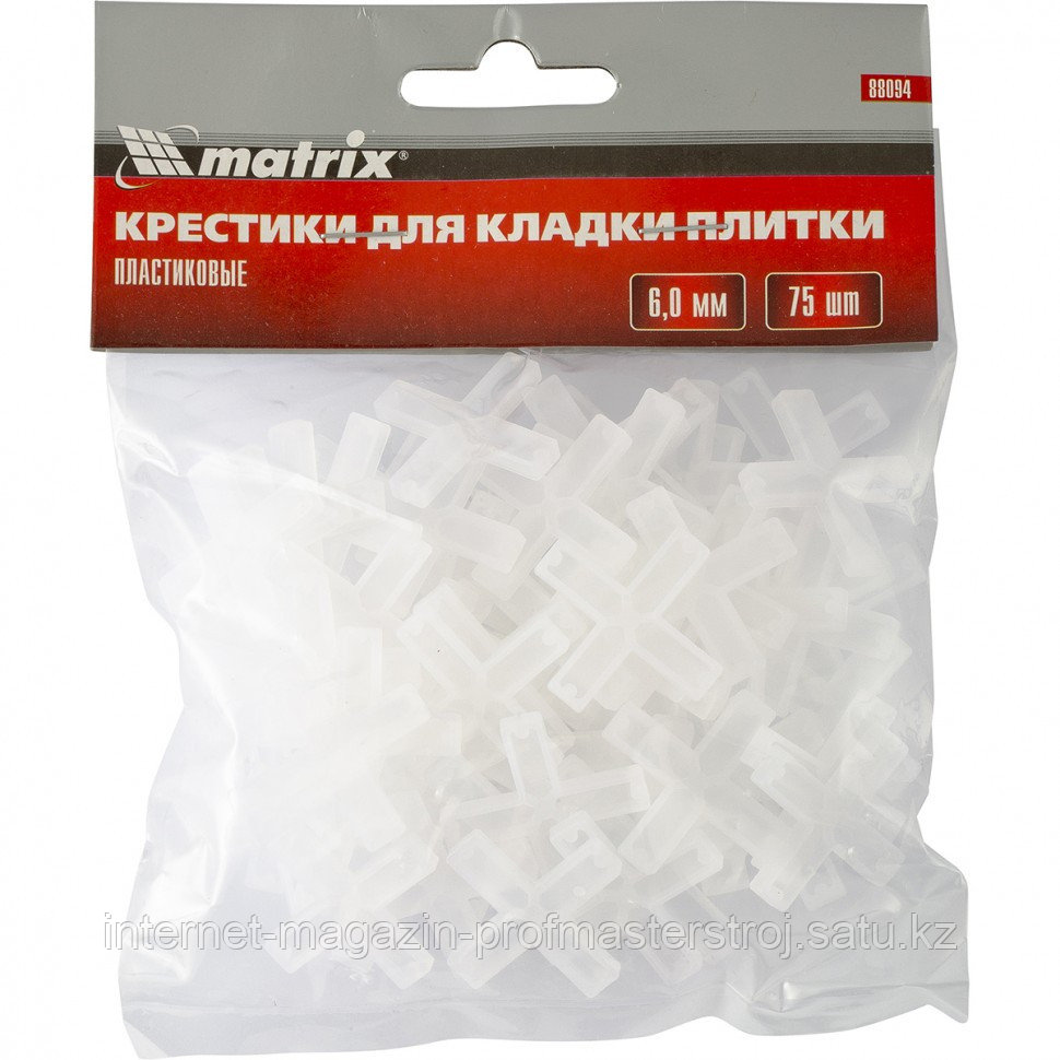 Крестики, 6 мм, для кладки плитки, упаковка 75 шт. MATRIX