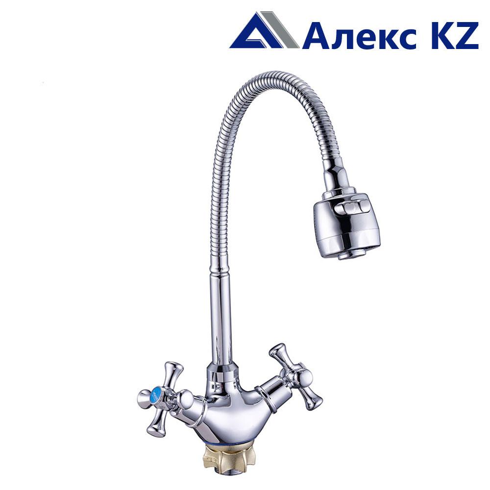 Смеситель для кухни  двуручный с гибким изливом ZEGOR DTZ4-E827