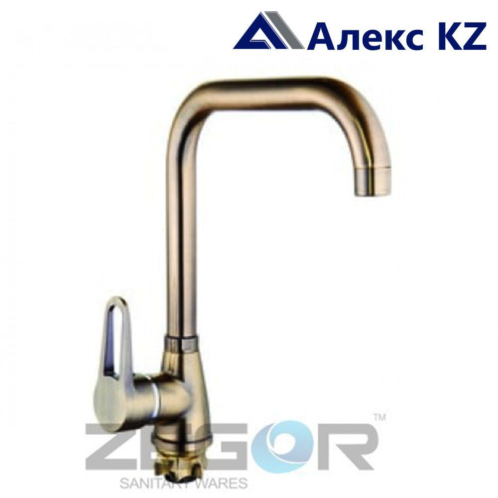 Смеситель для кухни одноручный ZEGOR SOP4-A045KТ (цвет: бронза)