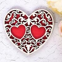 Подставка под кольца деревянная сердце в ассортименте