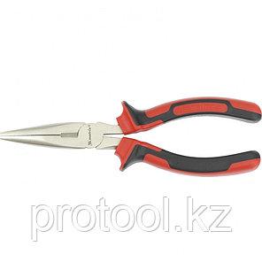 Длинногубцы NICKEL, 180 мм, прямые никелированные, двухкомпонентные рукоятки// MATRIX, фото 2