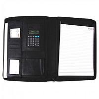Папка для конференций, А4(32x25x2см), на молнии, калькулятор, блокнот, кожзам, черная Foska