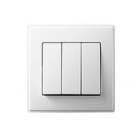 705-0202-109 Выключатель проходной тройной, белый