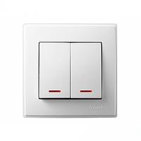 705-0202-112 Выключатель двойной с подсветкой, белый
