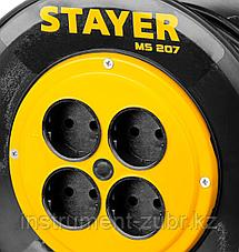 "Удлинитель на катушке ""MS 207"", 40 м, 2200 Вт, 4 гнезда, ПВС 2x0,75 мм2, STAYER, фото 2"