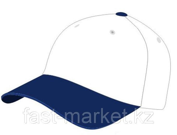 Бейсболки 5 панельные, 100% хлопок, сине-белая