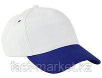 Бейсболка 5 панельная, 100% хлопок, сине-белая