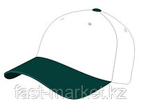 Бейсболка 5 панельная, 100% хлопок, бело-зеленая