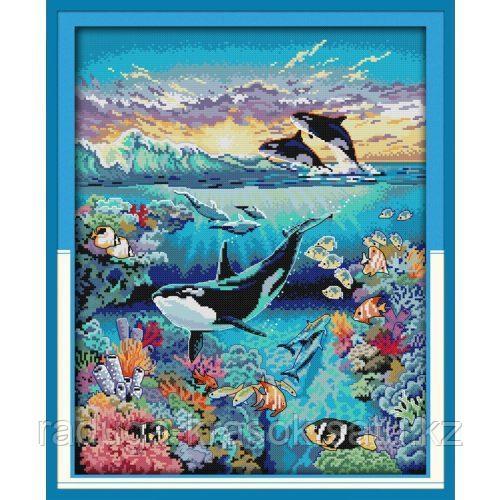 """Картины стразами на подрамнике """"Дельфины""""40*50 СТРАЗЫ КВАДРАТНЫЕ"""