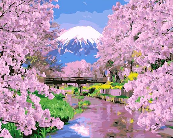 """Картины стразами на подрамнике """"Весна в Японии""""40*50"""