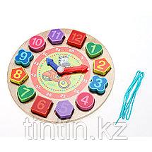 Деревянные часы сортер-шнуровка, фото 2