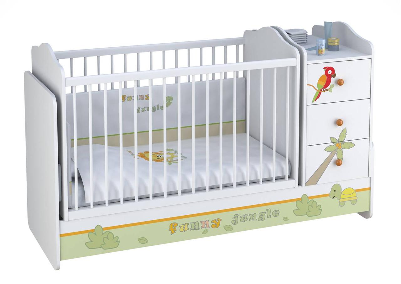 Кроватка-трансформер детская Polini Basic  с комодом ( в ассортименте )