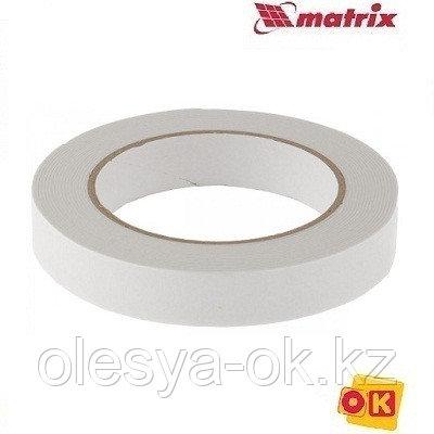 Лента клейкая, двусторонняя белая 19 мм  х 5 м. MATRIX