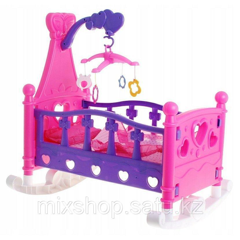 Кровать-колыбель для куклы с каруселью + одеяло и подушка, 50 см КРОВАТКА 2 в 1