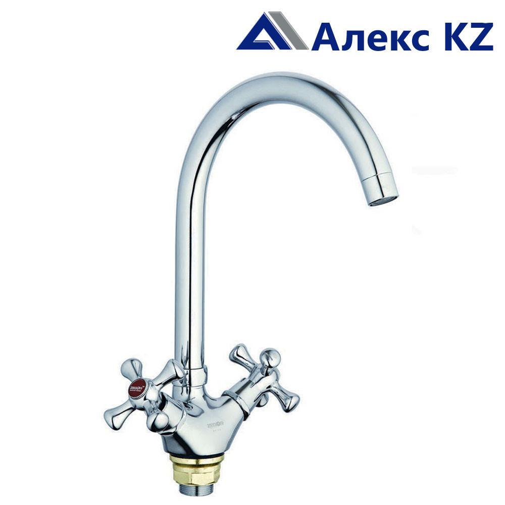 Смеситель для кухни двуручный  ZEGOR  DTZ4-A827