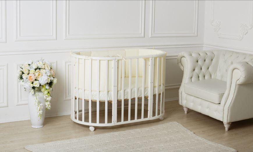 Кровать - трансформер Incanto Mimi Deluxe 7 в 1 овальная Белый