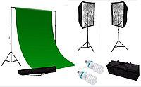 2 зонта - софтбокса 60 × 90 см на стойках с головками под лампу и зелёным фоном 4×3 м