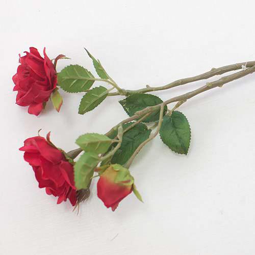 """Цветы искусственные """"Роза"""" три бутона, красная (8см * 50см)"""