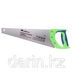 "Ножовка по дереву ""Зубец"", 350 мм, 7-8 TPI, каленый зуб 2D, двухкомпонентная рукоятка Сибртех"