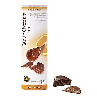 Шоколадные чипсы Belgian Chocolate Thins Оранж 80 гр