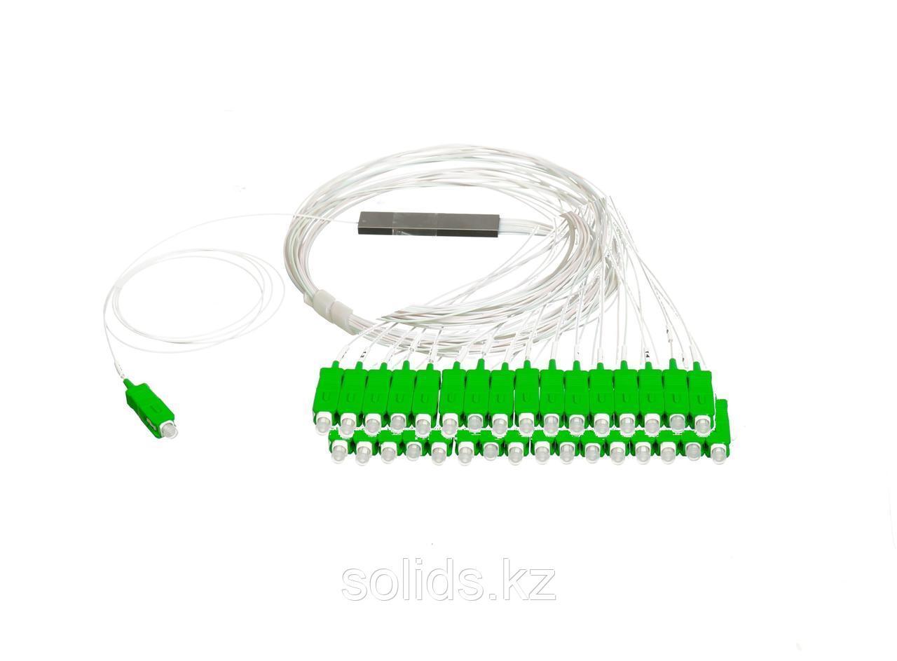 Оптический сплиттер PLC 1x16 steel tube 0,9mm 1,5m G657  SC/APC