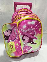 Школьный рюкзак на колесах для девочек 0-1-й класс. Высота 42 см, длина 26 см, ширина 18 см., фото 1
