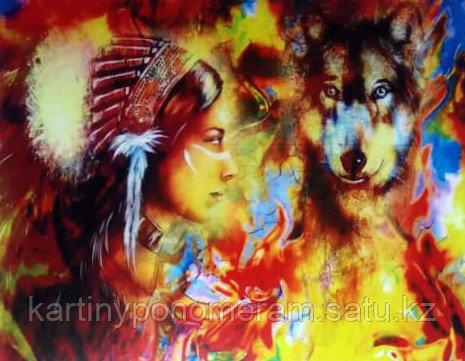 """Картина по номерам """"Индианка и волк"""""""