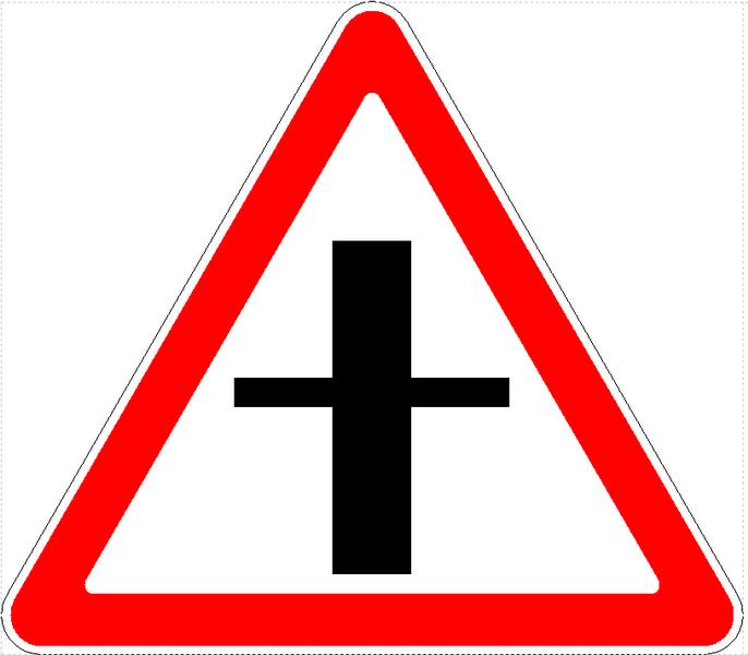 Знак 2.3.1 Кіші жол қиылысы/ Пересечение со второстепенной дорогой