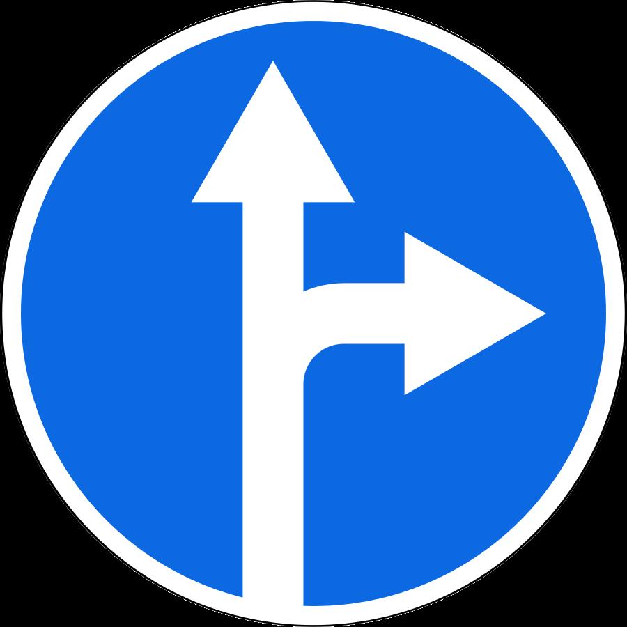 Знак 4.1.4 Тікелей немесе оңға жүру/Движение прямо или направо