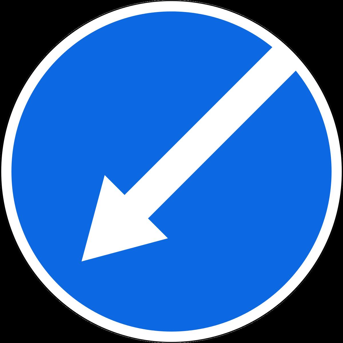 Знак 4.2.2 Кедергіні сол жақтан айналып өту/ Объезд препятствия слева