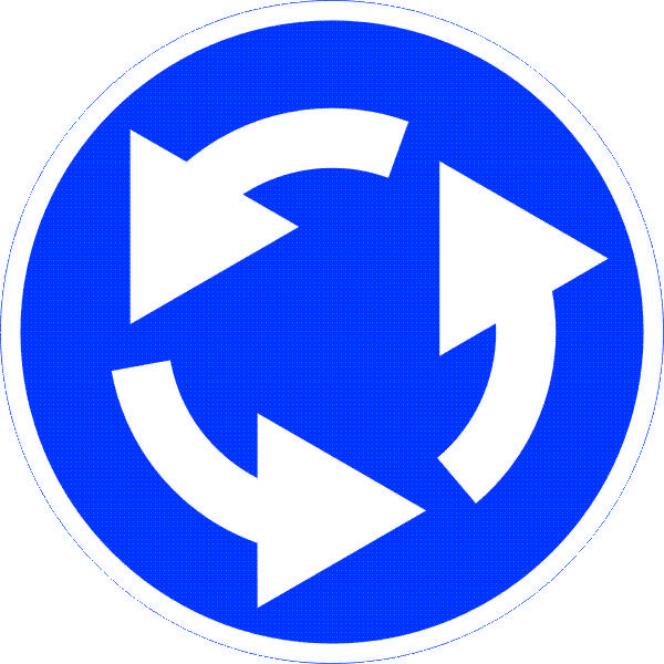 Знак 4.3 Жолдардың түйісуі/ Круговое движение