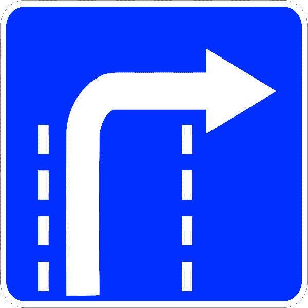 Знак 5.8.2 Жолақ бойынша қозғалыс бағыттары/ Направления движения по полосе