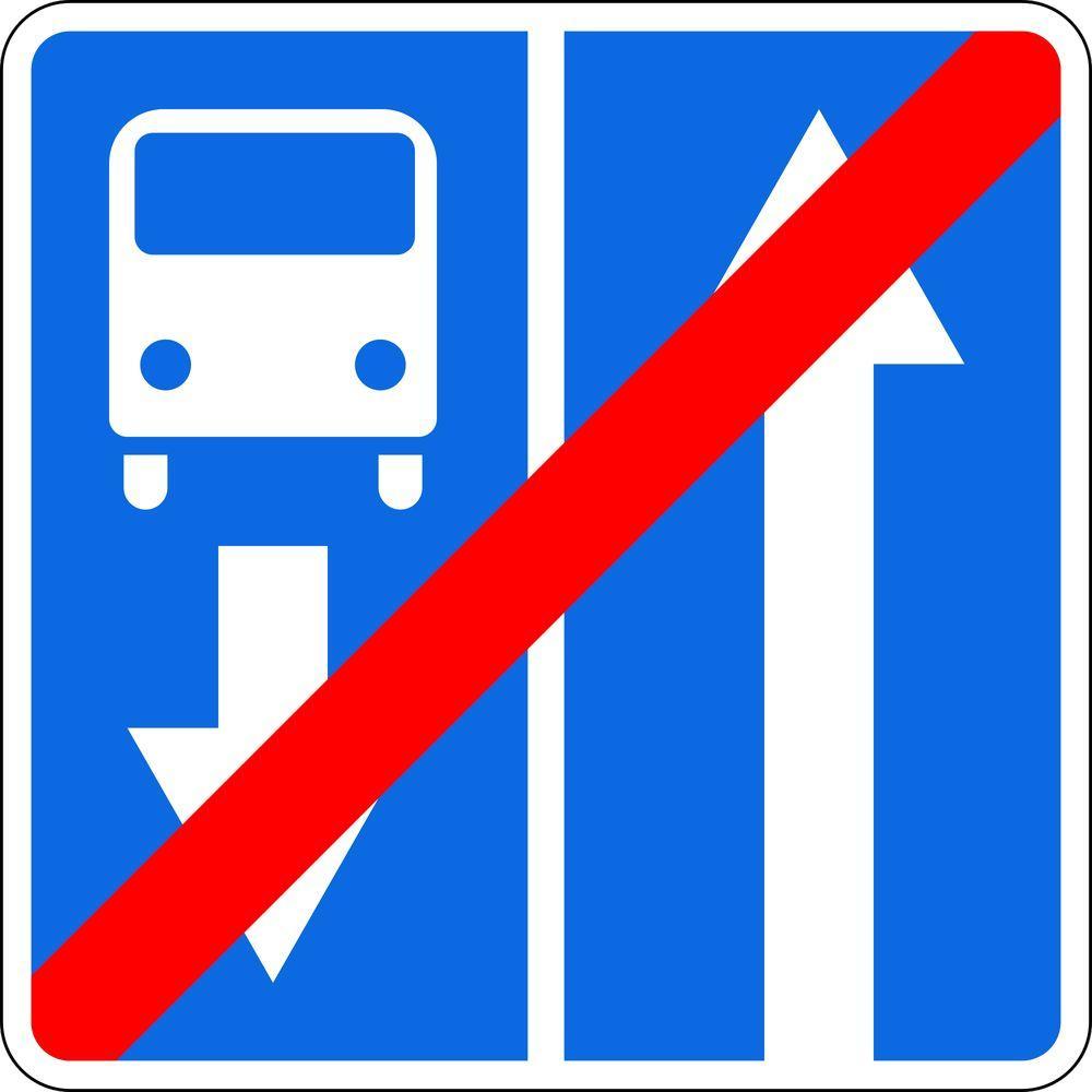 Знак 5.10.4 Конец дороги с полосой для маршрутных транспортных средств