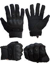 Тактические перчатки черные. Полнопалые, с усиленной защитой