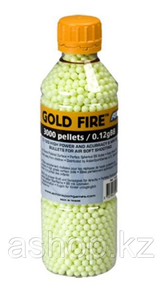 Пластиковые шарики для страйкбольного оружия ASG BB Gold Fire, Калибр: 6,0, 3000 шт., 0,12 г, Цвет: Жёлтый, Уп